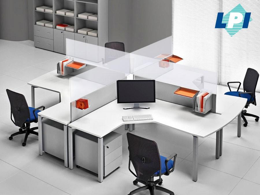 Protector de acílico para oficina, para escritorios, rotulados con la imagen corporativa de su empresa.